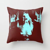 psycho Throw Pillows featuring Psycho by Groovyal