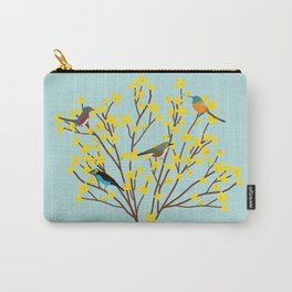 birds on forsythia bush designed for bird and nature lovers Carry-All Pouch