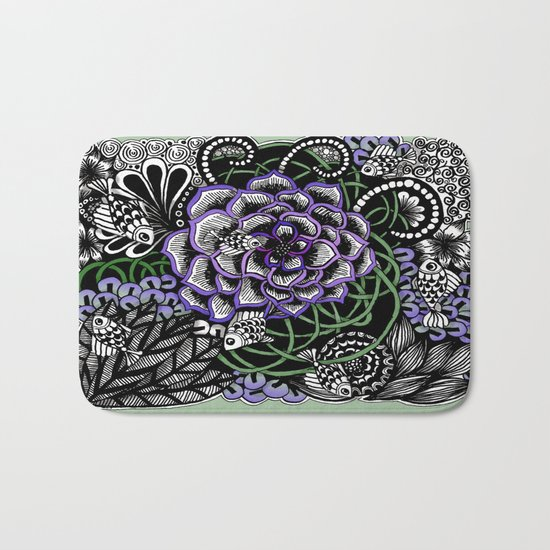 Fishes on a Coral Reef Greens - Zentangle Illustration Bath Mat