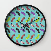 socks Wall Clocks featuring Avenging Socks by Kelslk