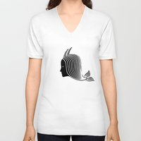 capricorn V-neck T-shirts featuring Capricorn by Rebelot