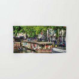 Amsterdam Houseboat on Canal Hand & Bath Towel