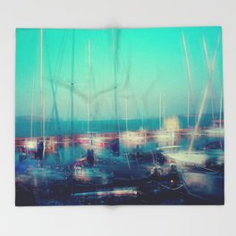 Sailing Harbor at Lake Balaton Throw Blanket