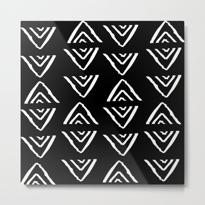 mudcloth 16 minimal textured black and white pattern home decor minimalist beach Metal Print