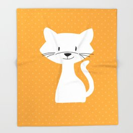 Yellow white cat Throw Blanket