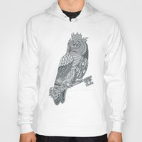 king Hoodies featuring Owl King by Rachel Caldwell