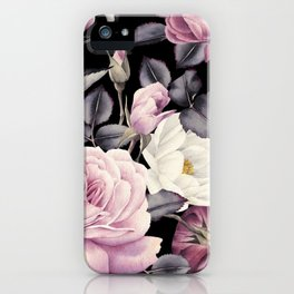 Pinky purple Medley of Roses, Peony and Leaves iPhone Case