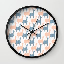 Pastel Pink and Blue Llama Silhouette Seamless Wall Clock