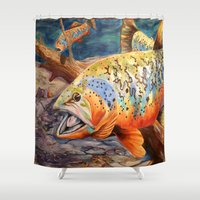 trout Shower Curtains featuring Tiger Trout by GetTAMArt