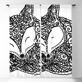Black and White Mandala Fox Design Illustration Blackout Curtain
