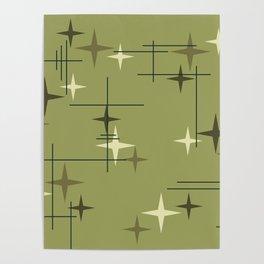 Mid Century Modern Stars Olive Green Poster