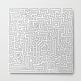 Maze Pattern Line Art in Black and White Metal Print