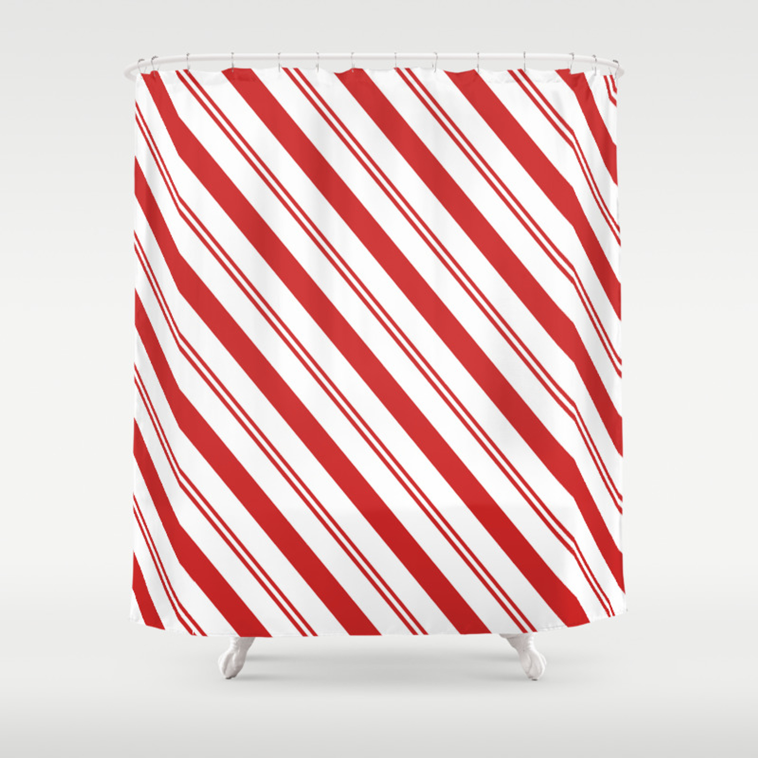 Red And White Candy Cane Stripes Thick And Thin Angled Lines Festive Christmas Shower Curtain
