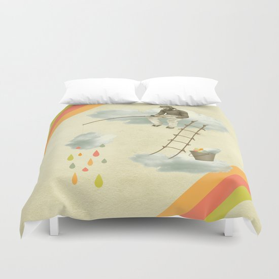 The fisherman who was cleaning the sky from the clouds Duvet Cover