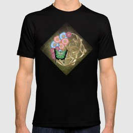 Butterfly and flowers on gold scrollwork T-shirt