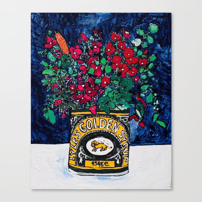 Wild Flowers in Golden Syrup Tin on Blue Leinwanddruck