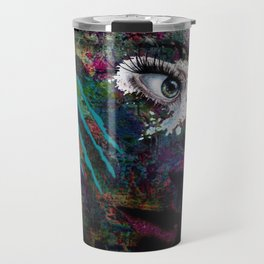 She Wears Her Scars Like a Warrior: a colorful texture abstract piece by KKingCreat Travel Mug