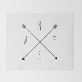 Compass - North South East West - White Throw Blanket