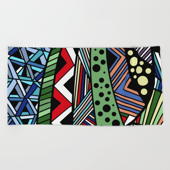 IT'S RAINING COLORS! (abstract tribal) Beach Towel