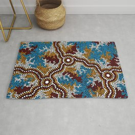 Authentic Aboriginal Art - Wetland Dreaming Rug