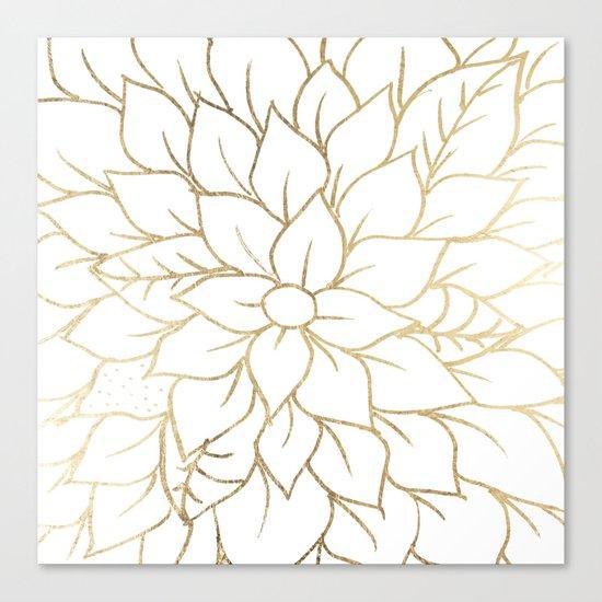 Gold faux foil chic floral elegant pattern Canvas Print
