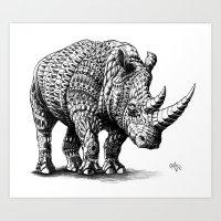 bioworkz Art Prints featuring Rhinoceros by BIOWORKZ