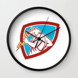 Zeus Wielding Thunderbolt Shield Retro Wall Clock