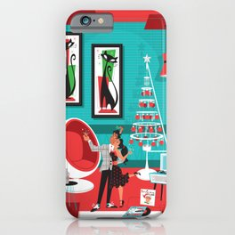 Martinis an Mistletoe Mid Century Modern art by Art of Scooter iPhone Case