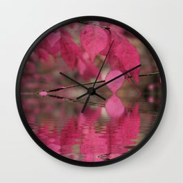 Red Autumn Leaf Reflections Wall Clock