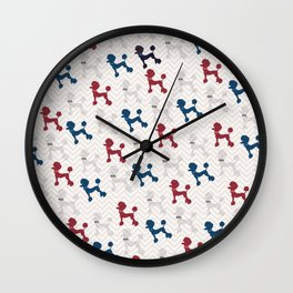 Modern red navy blue gray poodle pastel brown chevron Wall Clock