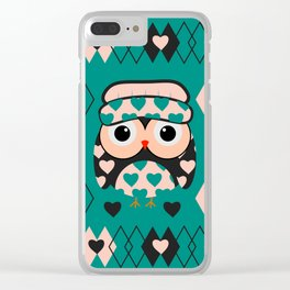 Owl and heart pattern Clear iPhone Case