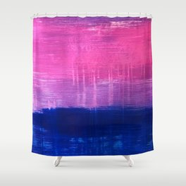 Bisexual Flag: abstract acrylic piece in pink, purple, and blue #pridemonth Shower Curtain
