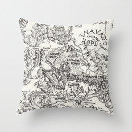 Hand-Drawn Arizona Map Throw Pillow