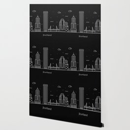 Portland Minimal Nightscape / Skyline Drawing Wallpaper