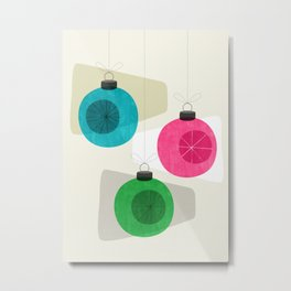 Retro Holiday Baubles Metal Print