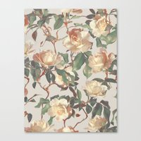 bedding Canvas Prints featuring Soft Vintage Rose Pattern by micklyn