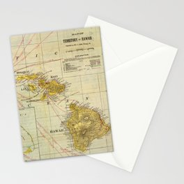 Vintage Map of Hawaii (1901) Stationery Cards
