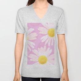Flowers and dots on a pink background - lovely summery - #daisy #society6 #buyart Unisex V-Neck