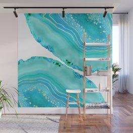Soft Aqua Marine Gold Agate Glam #1 #gem #decor #art #society6 Wall Mural
