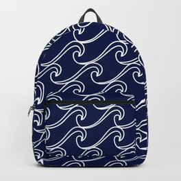 Rough Sea Pattern - white on navy blue Backpack