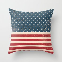 Vintage Distressed American Flag Throw Pillow