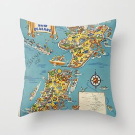 New Zealand Travel Poster Throw Pillow