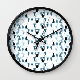 Icicles, abstract crystal pieces in light blue, geometric design in winter theme Wall Clock