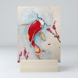 Swimming koi fish Mini Art Print