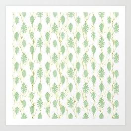 Leaf Art 3 Green, leaves, nature art, leaf design, leaf pattern, watercolor art design Art Print
