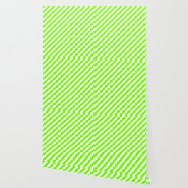 Mint Cream & Chartreuse Colored Striped Pattern Wallpaper