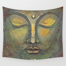Rusty Golden Buddha Face - Zen and Balance Watercolor Painting Wall Tapestry
