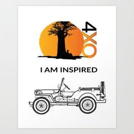 I AM INSPIRED JEEP CJ Art Print