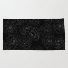Peony Flower Pattern III Beach Towel