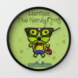 Hermes the Nerdy Frog Wall Clock